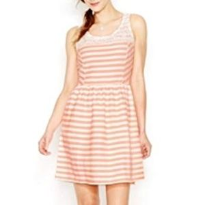Maison Jules Striped Coral Fit And Flare Dress